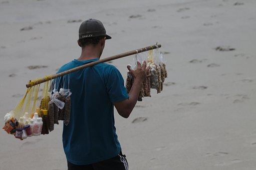Work, Beach, Seller, On Wheels, Peanuts, Recife