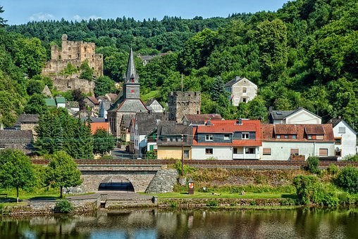 Balduinstein, Germany, Town, Urban, River, Reflections