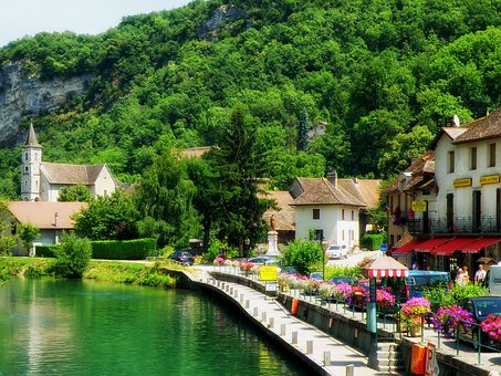 Chanaz, France, Village, River, Reflections, Flowers