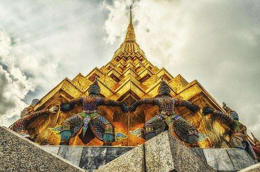 Temple, Giant, Thai, Religion, Buddhism, Sky, Gold