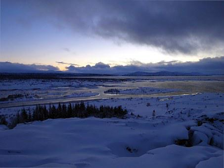 Iceland, Thingvellig, Landscape, Wide, Winter, Snow