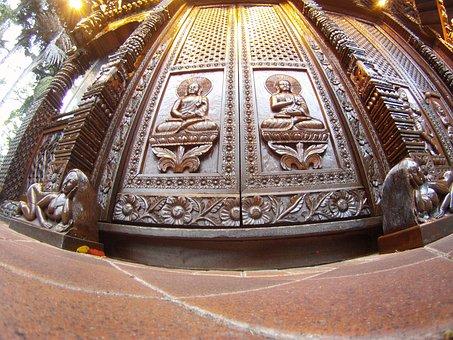 Door, Carved, Wood, Wooden, Buddha, Buddhist, Buddhism