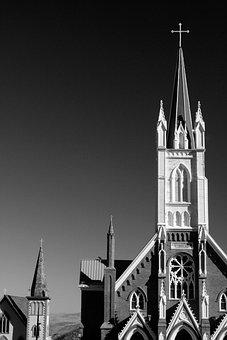 Church, Black And White, Black, White, Architecture