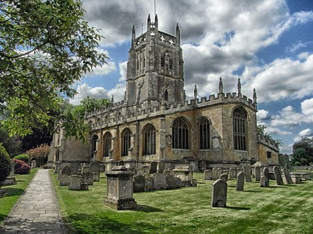 Fairford, England, Church, Cemetery, Architecture, Sky