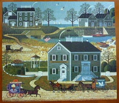 Puzzle, Town, Village, Buildings, Scenic, Historic