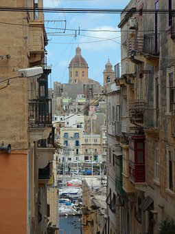 Street Canyon, Houses Gorge, View, Church, Port, Malta