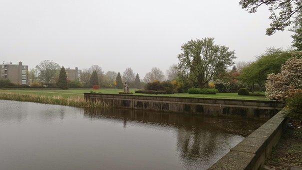 Voorburg, Netherlands, Town In Holland, Park, Lake