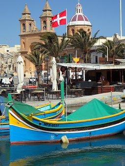 Fishing, Port, Malta, Marsaxlokk, Church, Boats