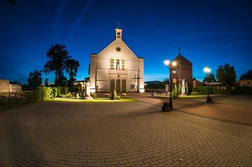 Church, Rogoźno, Night Photography