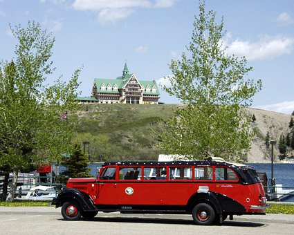 Waterton Provincial Park, Car, Oldtimer, Vehicle, Hotel