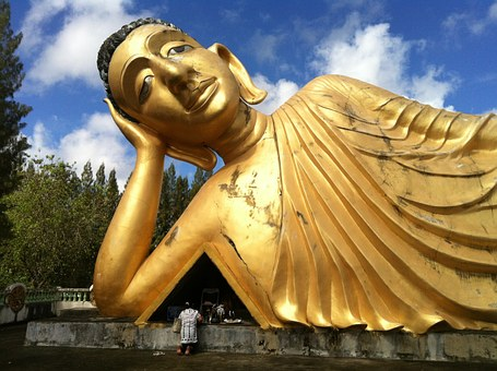 Buddha, Figure, Golden, Big, Temple, Thailand, Phuket