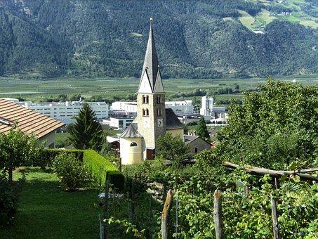 Vetzan, Italy, Town, Buildings, Church, Architecture