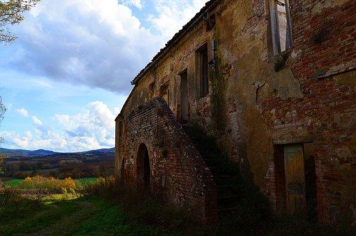 Italy, Farm, Abandoned Buildings, Tuscany, Nature