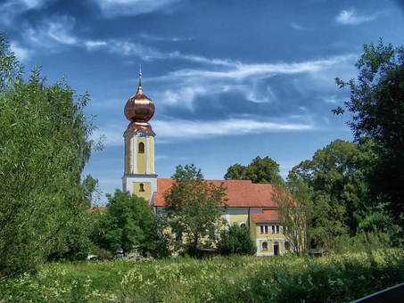 Weihmichl, Germany, Church, Architecture, Trees, Nature