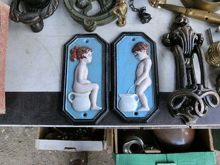 Toilet Signs, Woman, Man, Shield, Flea Market, Toilet