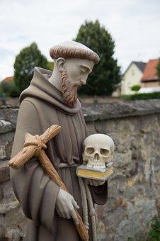 Monk, Christian Art, Religious Monuments Statue, Skull