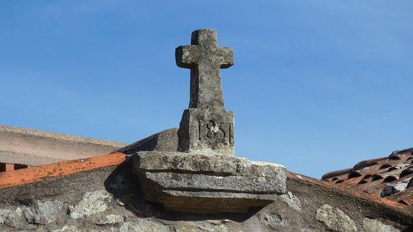 Cross, Rooftop, Stonework, Stone, Building, Christian