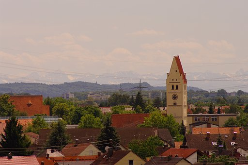 Vöhringen, View, Church, City, Roofs, Distant