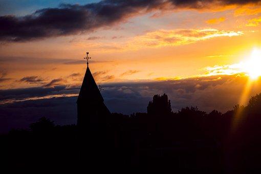 Sun, Church, Tower, Sunset, Geldermalsen, Center