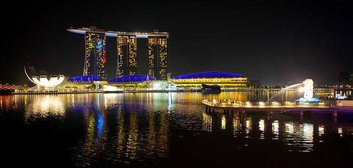 Singapore, Night View, Commercial, City, Building, Sea