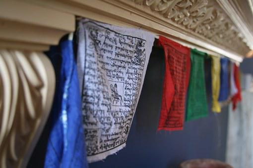 Tibetan, Prayer, Flags, Buddhism