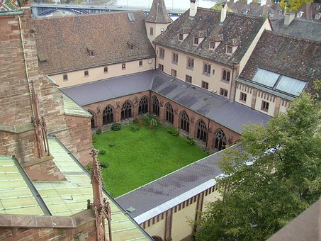 Munster, Germany, Cloister, Grass, Lawn, Buildings
