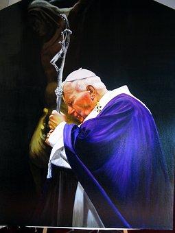 Drawing, Pope, John, Paul, Prist, Religion