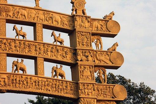 Sanchi, Sculptures, Buddhism, Buddhist, Monument, Gates