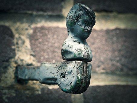 Holder, Shutter, Fig, Iron, Sculpture, Metal, Wall