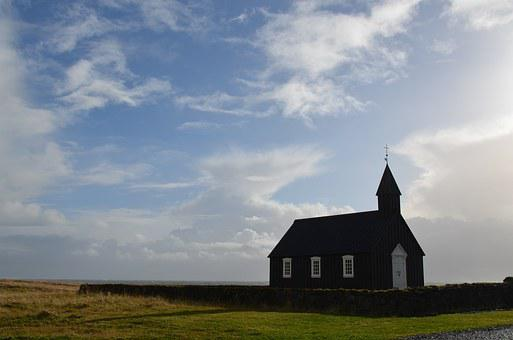 Iceland, Budir, Church, Sky, Clouds