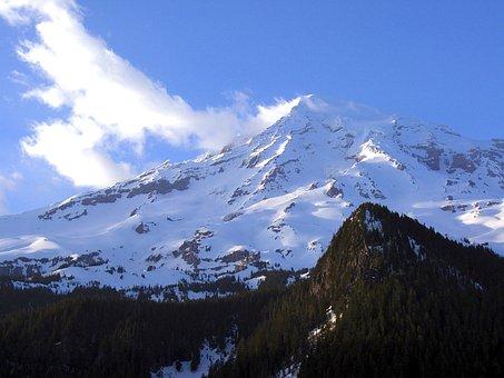 Mount Ranier, Washington, Sky, Clouds, Mountain
