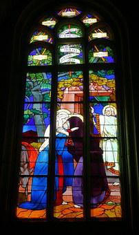 Church, Stained Glass Window, Stained Glass, Lannion