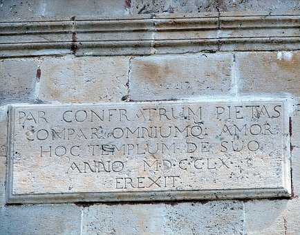 Stone, Latin Language, Inscription, Facade