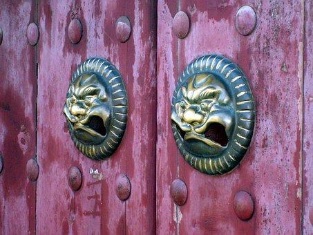 Door, Handle, Brass, Metal, Metalwork, Temple, China