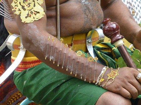 Needle, Piercing, Ceremony, Singapore, Thaipusam