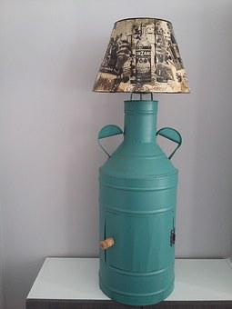 Upcycling, Idea, Lamp, Decoupage, Antique Oil Container