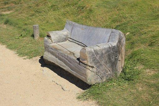 Sofa, Wood, Unusual, Park, Nature, Ecology, Upcycling