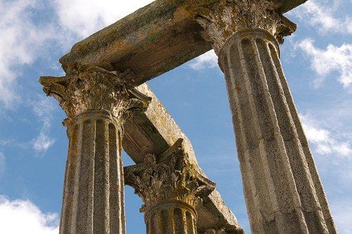 Building, Ancient Times, Roman, Pillars, Old, Sky