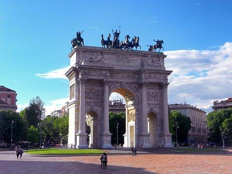Arca Della Pace, Miland, Italy, Plaza, Statue, Arch