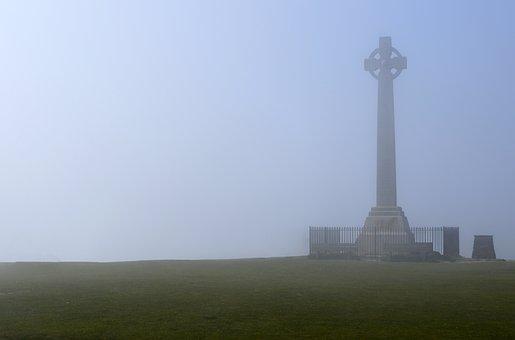 Monument, Mist, Fog, Cross, Architecture, Old