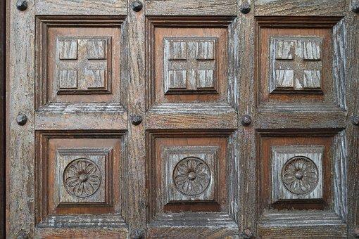 Goal, Carved, Cross, Flower, Door, Input, Building, Art