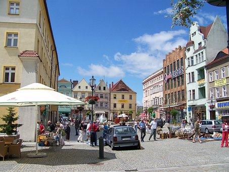 Fountain, Zary, Town Square, Architecture, Building