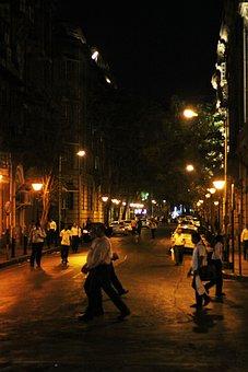 Mumbai, Street, Night, People, India, City, Urban