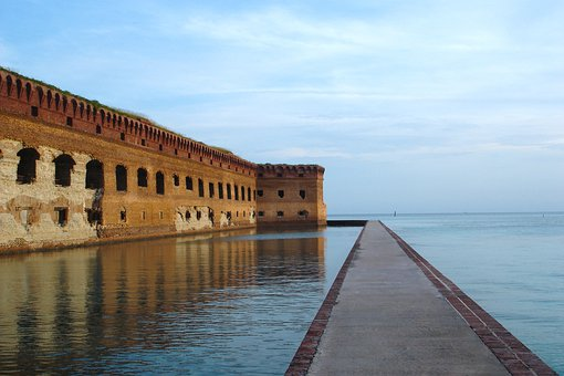 Fort Jefferson, Dry Tortugas, Florida, Sky, Clouds, Old