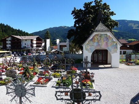 Austria, Village, Buildings, Cemetery, Flowers