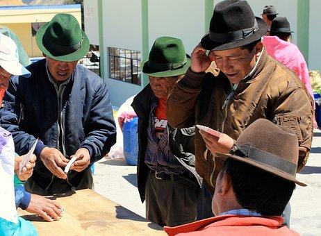 Market, People, Hat, Cowboy, Playing, Cards, Gambling