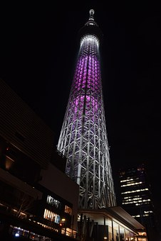 Tokyo Skytree, Landmark, Japan, Night, Cityscape