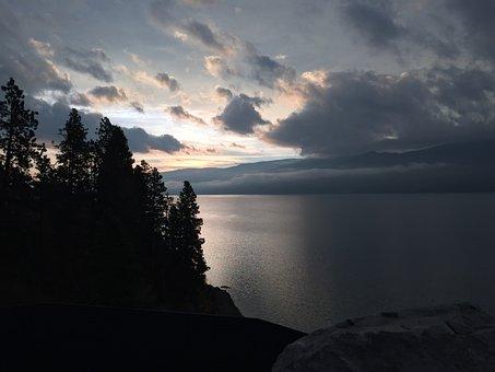 Peachland, Sunrise, Okanagan, British, Columbia, Nature