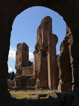 Rome, Ruin, Antique, Roman, Caracalla, Baths, Monument