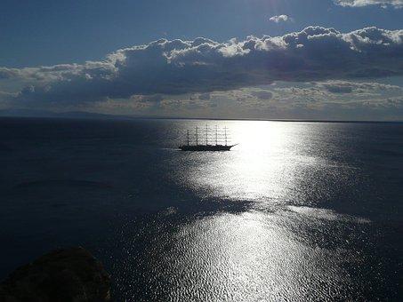 Moonlight, Sailboat, 5 Mats, Cloudy Sky, Night, Sea